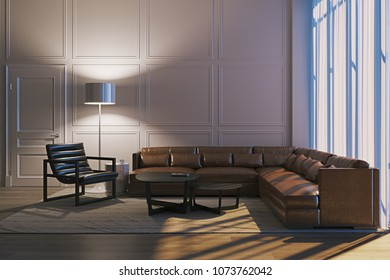 Night living room 3D render