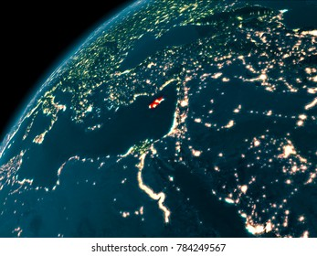 Night map of Cyprus as seen from space on planet Earth. 3D illustration. Elements of this image furnished by NASA.