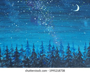 Night with moon stars and forest. The Milky Way and the Moon