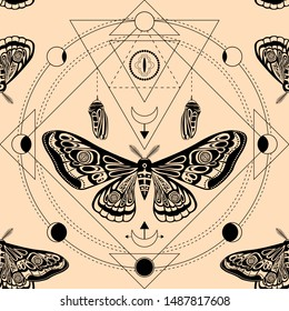 Night moth, butterfly pupa. Sacred geometry, esoteric symbols. illustration. Seamless pattern