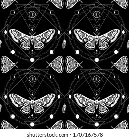 Night moth, butterfly pupa. Sacred geometry, esoteric symbols.