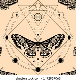 Night moth, pupa. Sacred geometry, esoteric symbols. illustration. Seamless pattern