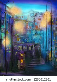 Night narrow street with lanterns. Oil painting cityscape.