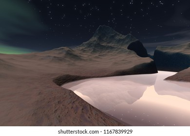 Night on the river, 3d rendering, a deserted landscape, beautiful mountains, reflection on water and stars in the sky.