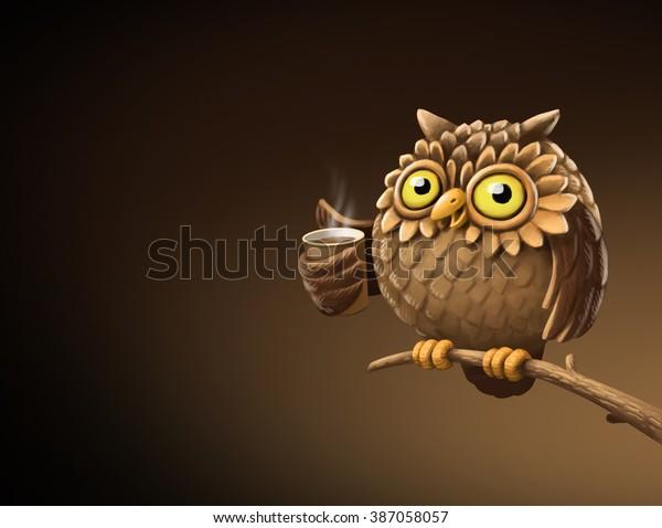 Night Owl Coffee Illustration Stock Illustration 387058057