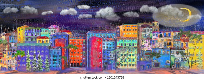 Night panorama of the street with colorful homes. Oil painting cityscape.