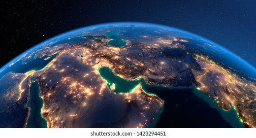 Night planet Earth with precise detailed relief and city lights illuminated by moonlight. Persian Gulf. 3D rendering. Elements of this image furnished by NASA