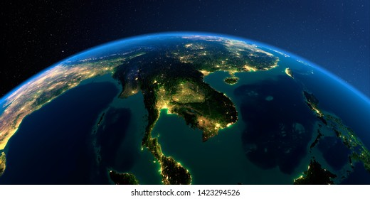 Night planet Earth with precise detailed relief and city lights illuminated by moonlight. Indochina peninsula. 3D rendering. Elements of this image furnished by NASA