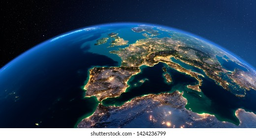 Night planet Earth with precise detailed relief and city lights illuminated by moonlight. Part of Europe, the Mediterranean Sea. 3D rendering. Elements of this image furnished by NASA