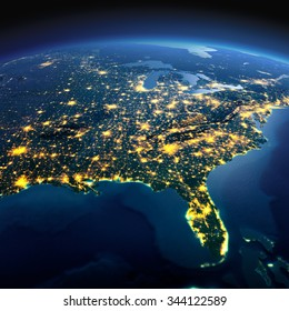 Night planet Earth with precise detailed relief and city lights illuminated by moonlight. North America. USA. Gulf of Mexico and Florida. Elements of this image furnished by NASA