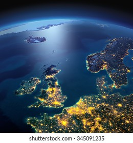 Night planet Earth with precise detailed relief and city lights illuminated by moonlight. United Kingdom and the North Sea. Elements of this image furnished by NASA