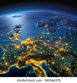 Night planet Earth with precise detailed relief and city lights illuminated by moonlight. Central Europe. Elements of this image furnished by NASA