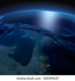 Night planet Earth with precise detailed relief and city lights illuminated by moonlight. Australia and Papua New Guinea. Elements of this image furnished by NASA