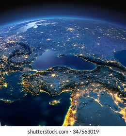 Night planet Earth with precise detailed relief and city lights illuminated by moonlight. Turkey and Middle East countries. Elements of this image furnished by NASA