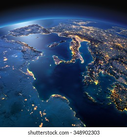 Night planet Earth with precise detailed relief and city lights illuminated by moonlight. Africa and Europe. The waters of the Mediterranean Sea. Elements of this image furnished by NASA