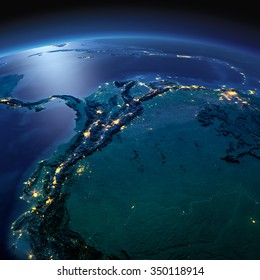 Night planet Earth with precise detailed relief and city lights illuminated by moonlight.  The western part of South America. Peru, Ecuador, Colombia. Elements of this image furnished by NASA