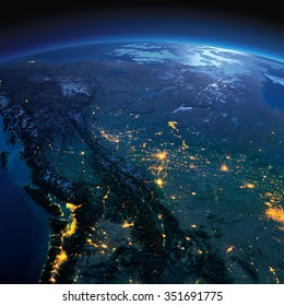 Night planet Earth with precise detailed relief and city lights illuminated by moonlight. Western and Northern Canada - British Columbia, Alberta. Elements of this image furnished by NASA