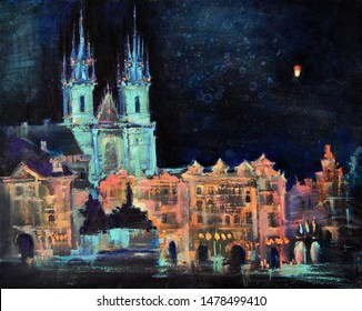 Night Prague. Tyn Church.  Old Town Square. Bright, saturated oil painted city landscape in the style of impressionism. Thick, expressive strokes of paint. Canvas texture.