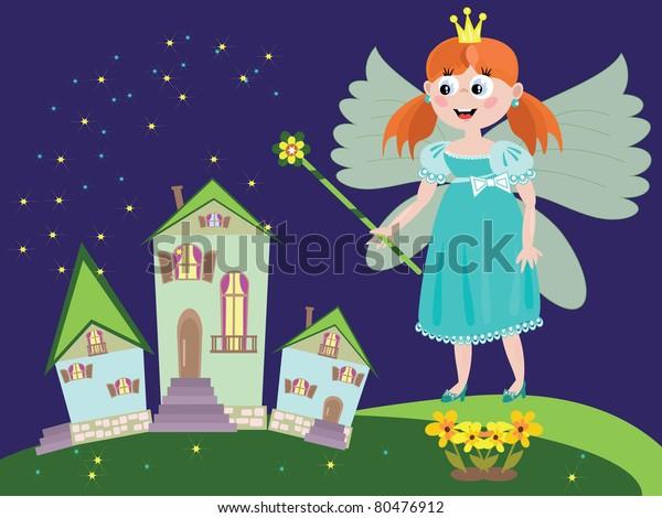 Night Redhead Fairy Outdoor Illustration Stock Illustration 80476912