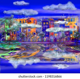 Night reflection of colorful street in water. Oil painting illustration.