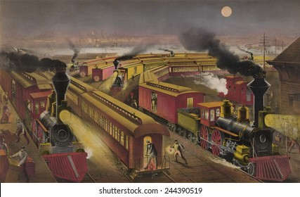 Night scene at an American railway junction in 1876. Three trains the Lightning Express Flying Mail and Owl Trains are in the multi-track station.