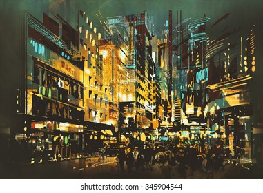 night scene cityscape,abstract art painting,illustration