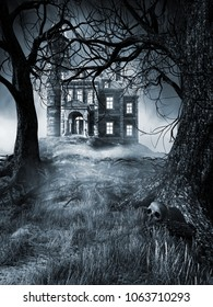 Night scene with creepy house,trees and fog. 3D illustration.