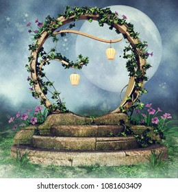 Night scene with a fantasy ivy portal with fairy lanterns and colorful flowers. 3D illustration.
