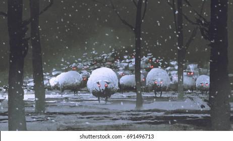 night scene of flock of demon sheep in winter landscape, digital art style, illustration painting