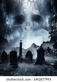 Night scene with fog and tombstones. 3D illustration.