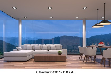Night scene glass house living and dining room with mountain view 3d rendering image.The room has wooden floor,There are large frame less glass window overlooking to the mountain and nature