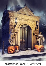 Night scene with a gothic crypt with statues, lanterns, and Halloween pumpkins. 3D illustration.