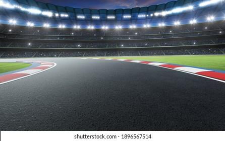 Night scene international race track. 3d rendering