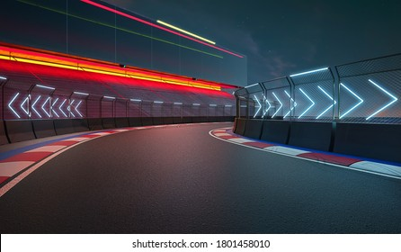 Night scene modern international race track with railing and neon light arrow sign. 3d rendering