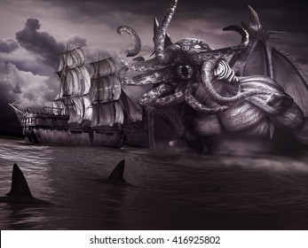 Night scene with old ship,sharks, sea and monster with tentacles