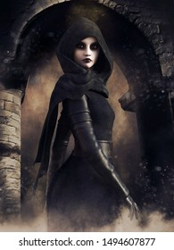 Night scene with a sorceress in a hooded robe standing in front of a gothic gate. 3D illustration.