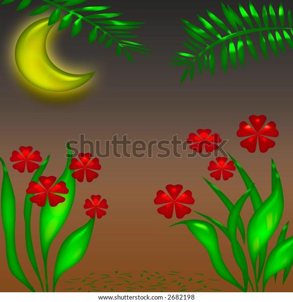 night scene in the tropics illustration poster