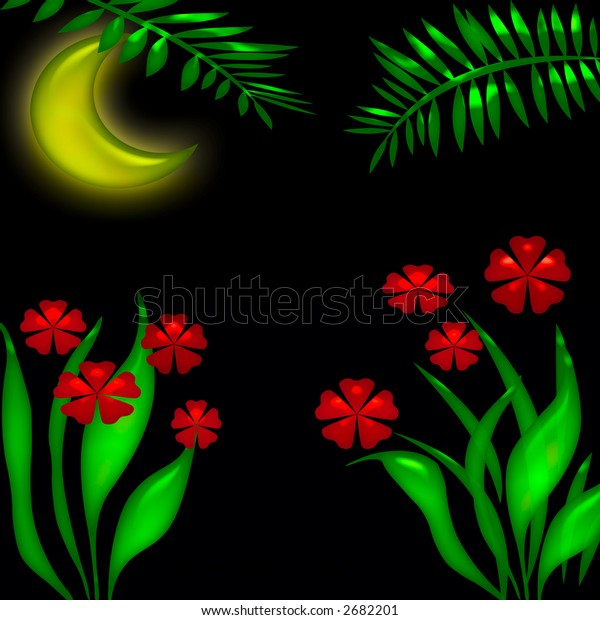 night scene in the tropics illustration poster