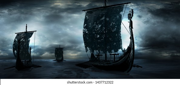 Night scene with vikings ships at sea. 3D illustration.