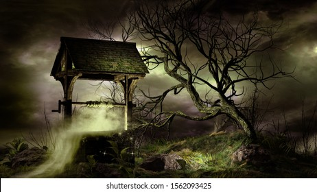 Night scene with well and creepy tree. 3D illustration.