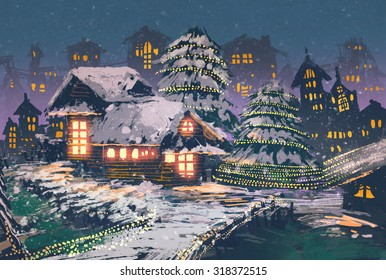 night scene of wooden houses with christmas lights,illustration painting