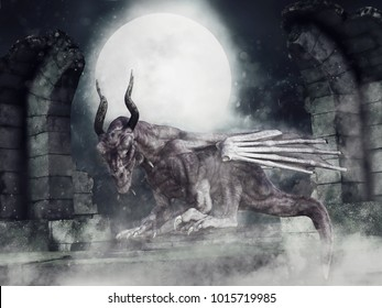 Night scene with a zombie dragon sitting on a wall among castle ruins. 3D illustration.