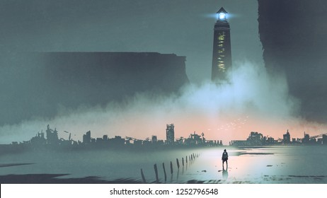 night scenery of the big lighthouse in futuristic world, digital art style, illustration painting