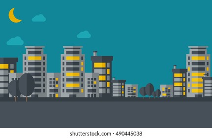 A night scenery of building city with moon.  flat design illustration. Horizontal layout.