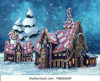 Night scenery with colorful gingerbread cottages in winter. 3D illustration.