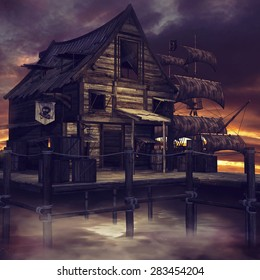 Night scenery with a fantasy pirate cottage and pirate ship