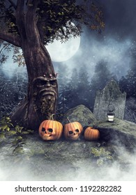 Night scenery with Halloween pumpkins under a fairy tree at a cemetery. 3D illustration.