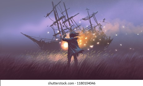 night scenery of a man with magic lantern standing in field looking at shipwreck, digital art style, illustration painting