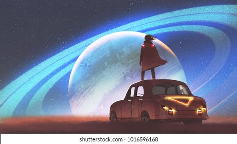 night scenery of the man standing on a vintage car looking at the planet with rings on a horizon, digital art style, illustration painting