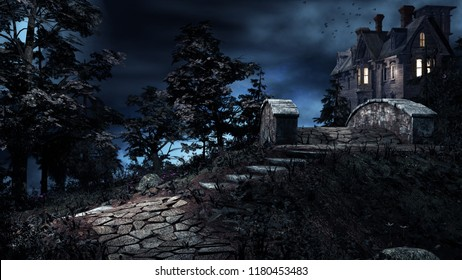 Night scenery with old house and stone bridge. 3D illustration.